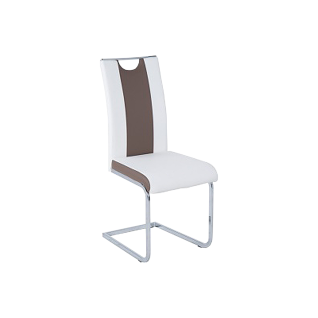 Reality Pauline R5303-29 Schwingstuhl im 4er Set in der Ausführung Kunstleder weiß / cappuccino Gestell und Griff verchromt für Ihr Esszimmer oder Wohnzimmer
