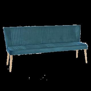 Standard Furniture Sitzbank Jennifer mit aufwendigen Ziernähten Bezug in Velouroptik Petrol und Holzbeine Eiche natur Polsterbank für Esszimmer und Küche