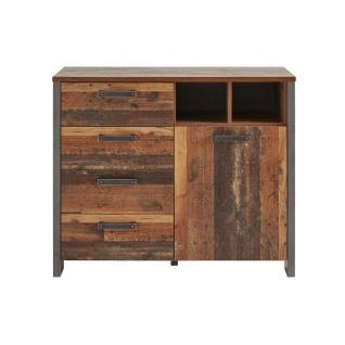 Forte Clif Kommode CLFK221 in Old Wood/ Grau mit einer Tür und vier Schubkästen zwei offene Fächer für Ihr Wohnzimmer