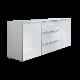 Nolte Möbel Alegro2 Style Kommodenkombination mit 2 Türen und 3 Schubkästen Front in Weißglas Füße in alu-matt Griffleisten Einrahmungen in alu-matt