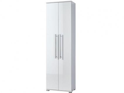 Germania Garderobenschrank INSIDE (Sybil) in Weiß Hochglanz ArtNr 3186-84 mit 2 Türen Relinggriffe Chrom inkl. 2 Einlegeböden viel Stauraum für Flur und Dielenbereich