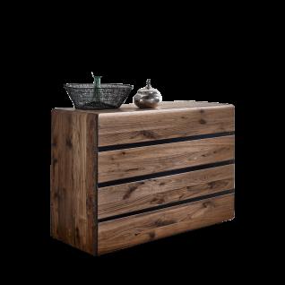 Thielemeyer Vento Kommode mit 4 Schubkästen und Holz-Abdeckboden aus Massivholz Nussbaum