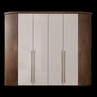 Nolte Möbel Horizont 100 Drehtürenschrank 6-türig mit Rundelementen Korpus und Außentüren Macadamia-Nussbaum-Nachbildung Mitteltüren in Hochglanz weiß