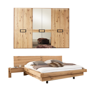 Wöstmann WSM 2100 Schlafzimmer 2-teilig bestehend aus einer Bettanlage und 6-türigem Drehtürenschrank optional Passepartout mit oder ohne Beleuchtung Polsterkopfteil und Metallablage für Holzkopfteil wählbar