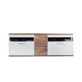 MCA Furniture Luzern LUZ93T30 TV-Element für Ihr Wohnzimmer Hochglanz weiß tiefzieh Nachbildung mit Absetzung Sterling Oak