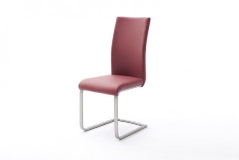 MCA Schwinger Paulo I 4er Set Stuhl mit Flachrohr Edelstahl gebürstet, Bezug Kunstleder mit Kontrastnaht creme, Farbe wählbar, für Esszimmer, Speisezimmer oder Wohnzimmer