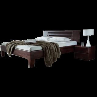 Dico Möbel Massivholzbett Avantgarde System mit Kopfteil in Buche wenge lackiert Liegefläche wählbar optional mit Nachttisch