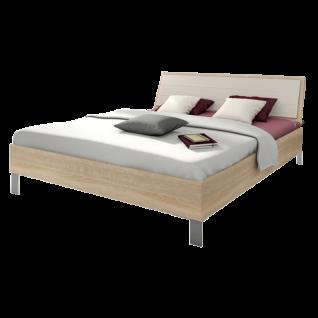 Nolte Sonyo Bett Doppelbett 1 Bettrahmen eckig Polster-Rückenlehne 1 Kunstleder Magnolia Ausführung Sonoma-Eiche-Nachbildung Metall-Bettfuß alu-matt