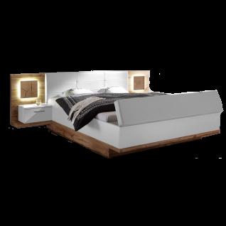 Schlafkontor Rimini Bettanlage bestehend aus einem Bett mit einer Liegefläche von ca. 180 x 200 cm mit 2 Nachtkommoden Paneel mit Beleuchtung sowie gepolsterten Kopfteil und einer Bank mit Stauraum