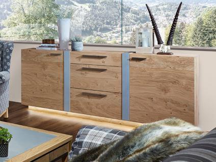 Schröder Kitzalm-Alpin Sideboard 3733 furnierte Kommode in Wildasteiche Alpin bianco gebürstet mit Aluminiumakzent Schrank für Wohnzimmer oder Esszimmer Beleuchtung wählbar