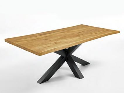 Niehoff Esstisch Timba 4803 Vintage Tafel mit Micado-Gestell Eisen schwarz und Tischplatte mit Baumkante in Barock Eiche Massivholz Tisch für Esszimmer Größe wählbar