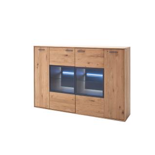 MCA Furniture Portland Highboard POR17T05 für Ihr Wohnzimmer oder Esszimmer Anrichte mit zwei Türen und zwei Glastüren in Asteiche bianco teilmassiv mit Fronten aus Massivholz und mit Absetzungen in Anthrazit lackiert Beleuchtung wählbar