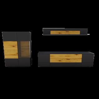 Gwinner Misano 3-teilige Wohnwand Kombination MI1 bestehend aus Lowboard und Highboard mit Sockel sowie einem Winkel-Wandboard mit Korpus und Teil-Front in Lack seidenmatt und Akzenten in Balkeneiche massiv