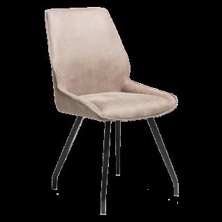 Habufa Polsterstuhl Scott mit Griff rückseitig Bezugsfarbe Taupe Metallgestell 4-Fuß-Stuhl für Ihr Esszimmer oder Ihre Küche