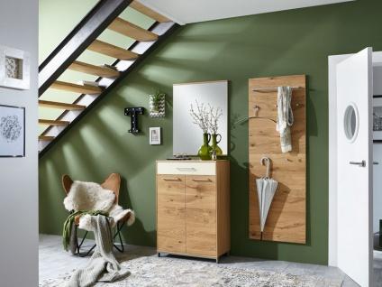 Voss-Möbel Vedo Garderobenset 10 3-tlg für Ihren Eingansbereich komplett in Eiche teilmassiv Front Absetzung wählbar