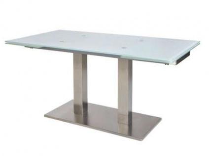 MWA Aktuell Esstisch Nova Säulentisch mit Auszugfunktion Tisch mit Glasplatte für Esszimmer oder Küche Gestellfarbe Tischplattenausführung und Größe wählbar