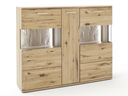MCA furniture Santori Highboard SAN17T05 Front Asteiche Bianco Massivholz geölt Korpus außen Eiche Bianco furniert geölt Korpus innen Eiche Bianco Nachbildung für Ihr Wohnzimmer oder Esszimmer mit 4 Türen und 2 Schubkästen