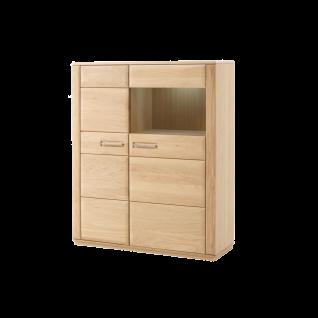 MCA furniture Sena Kombi-Highboard L Art.Nr. EB200T22 in Eiche Bianco geölt Front Massivholz durchgehende Lamellen Korpus furniert geölt