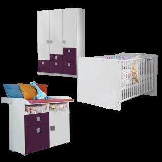 Rauch Skate Babyzimmer 3- teilig bestehend aus Drehtürenschrank Wickelkommode und babybett inklusive lattenroste Liegefläche ca. 70 x 140 cm Farbausführung wählbar optional mit Regal und Wandregal