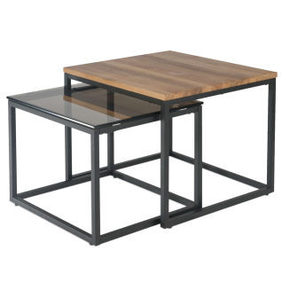 Vierhaus Couchtisch 0234-WEI 2-Satz Tisch Wildeiche Massivholz Rauchglas Gestell Stahl schwarz lackiert für Ihren Wohn- und Essbereich
