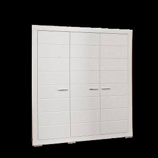 Forte Snow Kleiderschrank SNWS83 dreitürig in Weiß matt mit Rillenfräsung mit einer Kleiderstange zwei Fachböden und vier Einlegeböden für Jugenzimmer