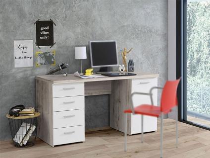 FORTE Net106 Schreibtisch MT926 Schreibtisch für Ihr Arbeitsszimmer oder Büro mit Tür und vier Schubkästen Korpus Sandeiche Nachbildung Front Weiß matt