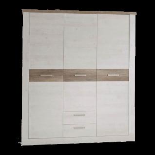 Forte Duro Jugendzimmer Drehtürenkleiderschrank mit 3 Türen und 2 Schubkästen in Pinia weiss Nachbildung kombiniert mit Eiche Antik Nachbildung