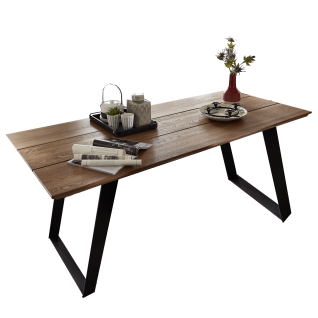 Die Hausmarke Media Massiv Esstisch 580501 mit Tischplatte in Eiche Massivholz Bohlenoptik ideal für Ihr Esszimmer