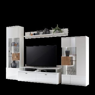 Ideal-Möbel Canberra Wohnkombination 41 für Ihr Wohnzimmer moderne 4-teilige Wohnwand mit zwei Vitrinen Lowboard und Wandboard Kombination in Weiß mit Hochglanzfronten mit Absetzung in Artisan Eiche