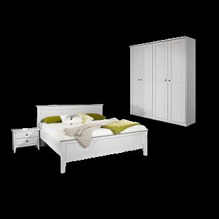 Rauch Packs Rosenheim Schlafzimmer 3-teilig bestehend aus Bett mit offenen Fußtei Liegefläche ca. 180 x 200 cml Nachttischpaar mit 2 Schubkästen und 4-türigen Drehtürenschrank Farbausführung alpinweiß