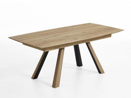 Hartmann Runa 8410 Esstisch mit Vierfußgestell ausziehbar zwei Einlagen stirnseitig inneliegend aus Massivholz Kerneiche natur gebürstet Tisch für Esszimmer