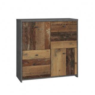 Forte Möbel Best Chest SQNK221 Kommode mit vier Türen in Holzoptik Old-Wood und Betonoptik Dunkelgrau