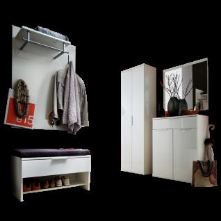 Wittenbreder Stelvio Garderobenkombination Nr. 07 komplette Garderobe für Ihren Flur und Eingangsbereich 7-teilige Vorschlagskombination im Dekor WEiß Hochglanz und Weiß Glas