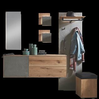 Hartmann Brik Garderobe Vorschlagskombination 104 Ausführung Kerneiche Natur Massivholz gebürstet für Ihren Eingangsbereich Beleuchtung wählbar