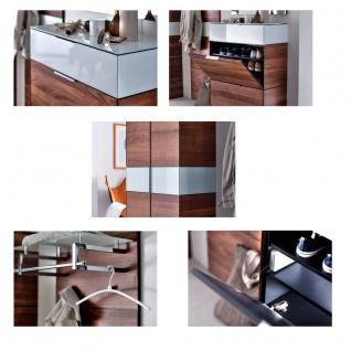 Wittenbreder Novara Garderobenkombination Nr. 01 komplette Garderobe für Ihren Flur und Eingangsbereich 4-teilige Vorschlagskombination im Nussbaum Massivholz und Glas Weiß Griffe und Metallteile in Chrom - Vorschau 2