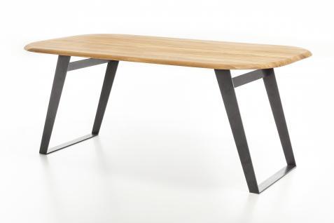 Standard Furniture Esstisch Ohio mit Gestell 3 Spange schwarz Rundung Platte oben mit fester Tischplatte oval massiv Tisch für Esszimmer Holzausführung und Größe wählbar