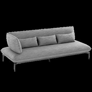 Niehoff Garden Valencia Lounge-Sofa G839-100-523 3-Sitzer links mit Aluminiumgestell anthrazit inkl. Sitz- Rücken- und Dekokissen in stoff anthrazit