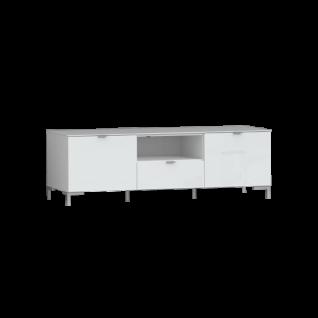 Forte Onrie Lowboard ONRT133 für Ihr Wohnzimmer TV-Unterteil mit zwei Türen einem Schubkasten und einem offenen Fach mit Glasfront und Glasplatte Ausführung wählbar