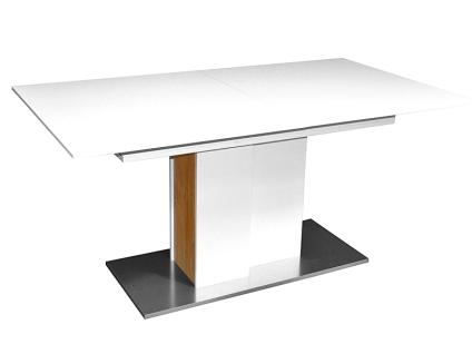 Mäusbacher Arizona Esstisch ca. 160/240x90cm für Ihr Esszimmer ausziehbarer Säulentisch mit Synchronauszug Bodenplatte in Edelstahloptik Dekorausführung wählbar