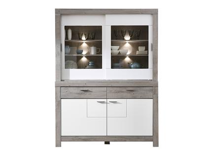 Wohn-Concept Granada Kombination 84 für Ihr Esszimmer oder Wohnzimmer bestehend aus einem Sideboard und Buffet-Aufsatz Speise-Kombination inkl. LED-Beleuchtung Ausführung wählbar