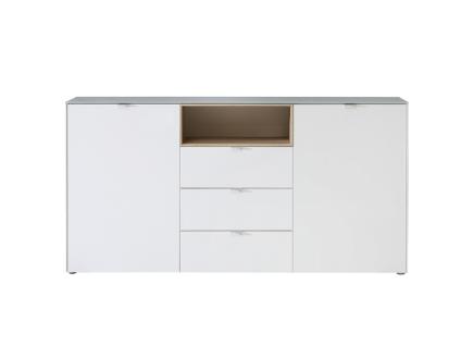 FORTE Stamford Kommode SFDK233 mit zwei Türen und drei Schubkästen mit Deckplatte aus Glas Korpusfarbe Weiß Nichsenabsetzung Sonoma Eiche Sideboard für Ihr Schlafzimmer Wohnzimmer oder Esszimmer