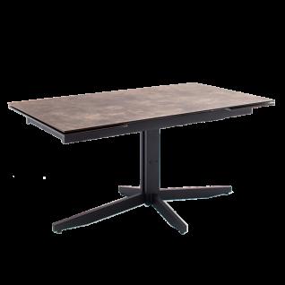 MCA furniture Esstisch Rimini Tischplatte Steinoptik braun HPL/ Sicherheitsglas Metallgestell schwarz mit Stirnauszug ca. 160 bis 240 cm