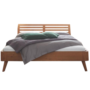 Hasena Oak-Line Bett bestehend aus Bettrahmen Modul 18 Holzkopfteil Soleo und Bettfüße Airo in Schwebeoptik Farbausfühung in Eiche cognac gebürstet geölt Liegefläche ca. 180x200 cm