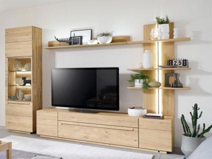 Wöstmann Wohnwand Sapio Wildeiche Massivholz soft gebürstet für Wohnzimmer Kombination 0003 oder spiegelseitig 4-teilig Zubehör wählbar