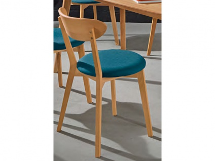 Niehoff Polsterstuhl Madison 2141 2er-Set im Bezug 352 Tiago petrol Stuhl für Esszimmer mit Gestell und Rückenlehne aus Massivholz Ausführung wählbar