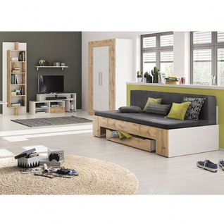 Röhr-Bush cadre Jugendzimmer 4-teilig bestehend aus einem ausziehbaren Bettsofa inkl. Matratzen Kleiderschrank sowie Medienelement und Paneelregal