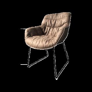 Niehoff Sitzmöbel Schalensessel mit einem Kufengestell aus schwarzem Eisen und wählbaren Bezügen für Ihren Wohn- und Essbereich