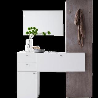 MCA Furniture Zara Garderobenkombination 3 ZARWBK03 Ausführung in weiß Melamin Garderobenelement Beton Optik Türen und Schubkästen gedämpft für Ihren Flur