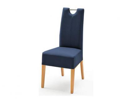 MCA Direkt Stuhl Enya Bezug Argentina in der Farbe nachtblau 2er Set Polsterstuhl für Wohnzimmer und Esszimmer Ausführung 4 Fuß Massivholzgestell und Chromgriff