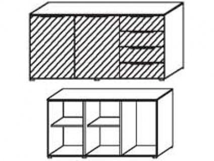 Schrank-Kommode mit 2 Türen links und 4 Schubkästen rechts, Front Dekor matt